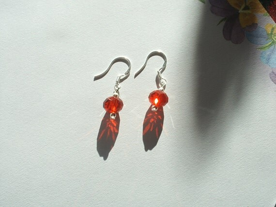 1 Pair Silver-Cute And Dainty Red Faceted Crystal Dangle Earrings