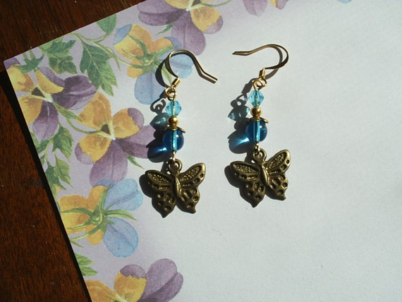 1 Pair-Gold-Antique Bronze-Turquoise Glass-Butterfly Dangle Earrings