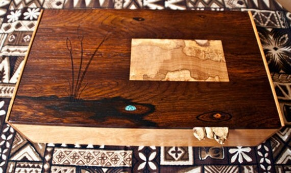 Handmade jewelry, music box with inlaid and carved lid (MB0003)