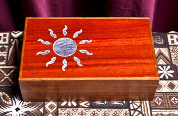 Jewelry Box with Silver Leaf Sun Handmade wooden  (JB0012)