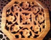 Vintage hand carved wooden trivet