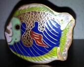 Cute Vintage Cloisonne Fish Trinket Box