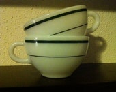 """Pair of vintage Pyrex """"double tough"""" milk glass coffee cups"""