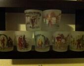 """Set of 16 Vintage """"Charles Dickens"""" glasses by Hazel Atlas"""