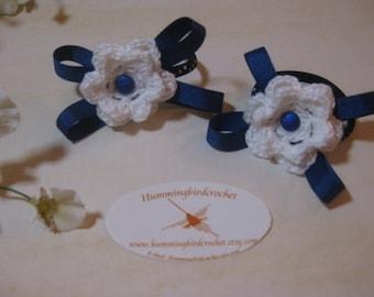 White Ponytail Flower Crochet