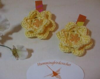 Yellow Crocheted Flower Hair Clip