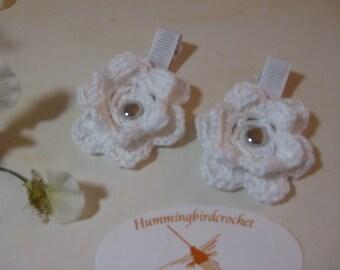 White Crocheted Flower Hair Clip