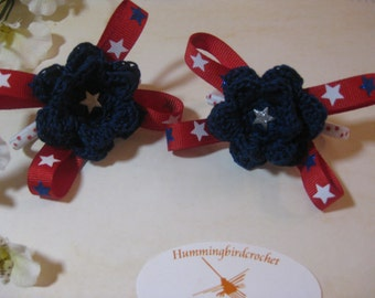 Patriotic Crocheted Ponytail Holders. 4th of July