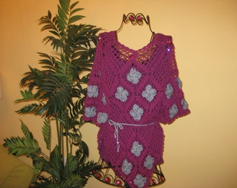 Magenta Crocheted Poncho- Made To Order