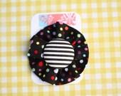 Small Flower Clip - black spot with stripe button