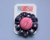 Small Flower Clip - navy and pink