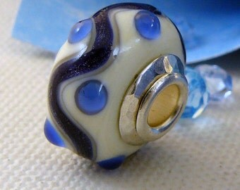 SALE  Lampwork Focal Big Hole Bead European Style- 'Let The River Run'
