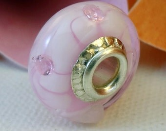 Lampwork Big Hole Charm Bracelet Bead - 'For Pink's Sake'