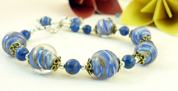 Lampwork Beaded Bracelet  Lapis and Sterling   'Blue Jean Baby' - SALE