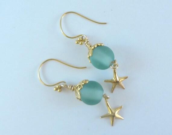 Earrings Lampwork Bead - ' Crystal Beach'