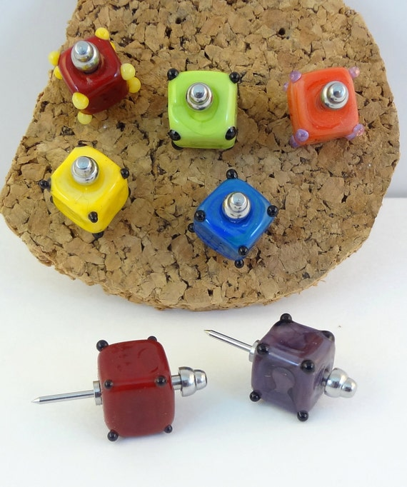 Lampwork Bead Push pins  - 'Hip To Be Square'
