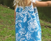 Turquoise with White Floral Print and Trim Dress with Shoulder Ties - size 5