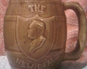 New Deal Election mug 1937 Roosevelt Presidential Race giveaway