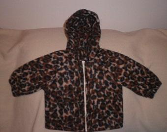 Size 12 month Leopard Print Fleece Hooded Jacket