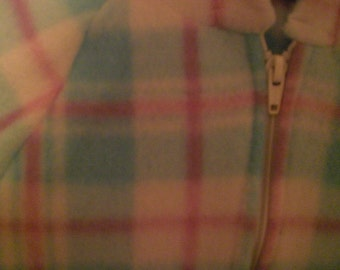 Size 3T White, Blue and Pink Plaid Fleece Hooded Jacket