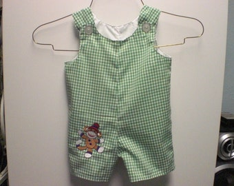 Green and White Gingham Romper with Embroideried Sock Monkey