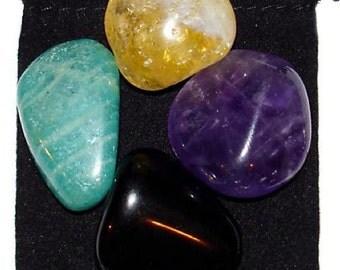 NEGATIVE ENERGY BLOCK Tumbled Crystal Healing Set - 4 Gemstones w/Description & Pouch - Amazonite, Amethyst, Citrine, Obsidian