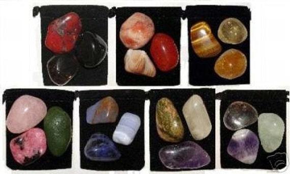 21 Stone MEGA-CHAKRA Healing Tumbled Crystal Set - 7 Sets for 7 Major Chakras - 7 Pouches & 7 Description Cards