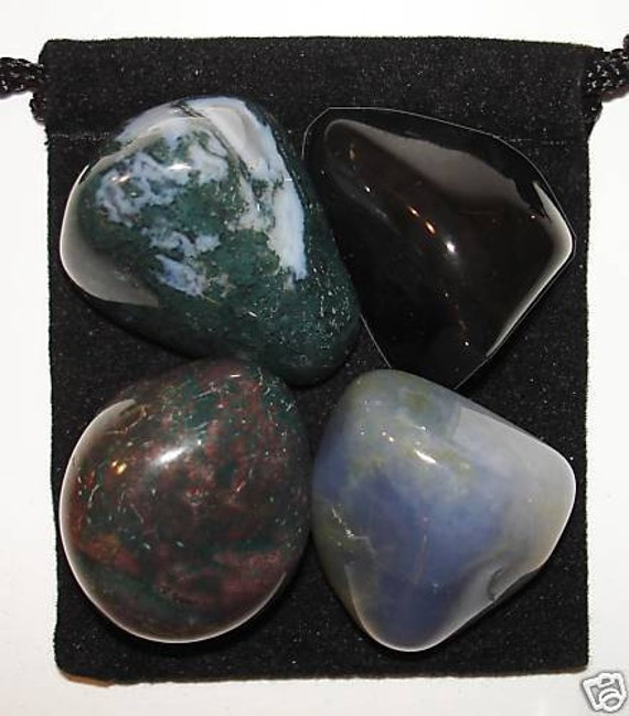 NEW EXPERIENCES Tumbled Crystal Healing Set - 4 Gemstones w/Description & Pouch - Blue Chalcedony, Bloodstone, Moss Agate, and Obsidian