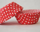 Candy Apple Red and White Polka Dot - 50 Cupcake Liners