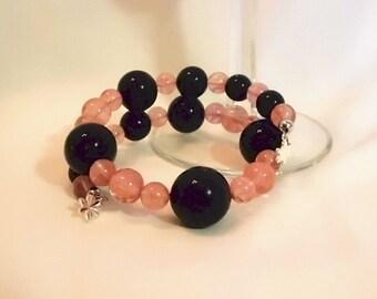 Black Glass Pearl & Cherry Quartz Memory Wire Bracelet