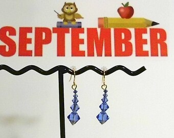 September Birthstone (Sapphire Swarovski Crystal & Gold or Silver) Earrings