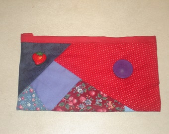 Cosmetic bag in red - makeup bag - pencil case - Strawberry button - free shipping etsy