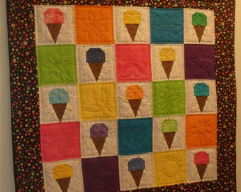 Wall Hanging - Ice Cream Cone - Yellow, Orange, Blue, Pink, Purple, Green Color Cones - Free Shipping Etsy