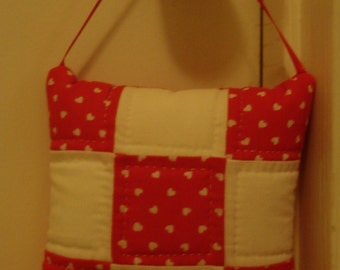 Small Wall Hanging - Door Hanging - White Hearts on Red background - free shipping etsy