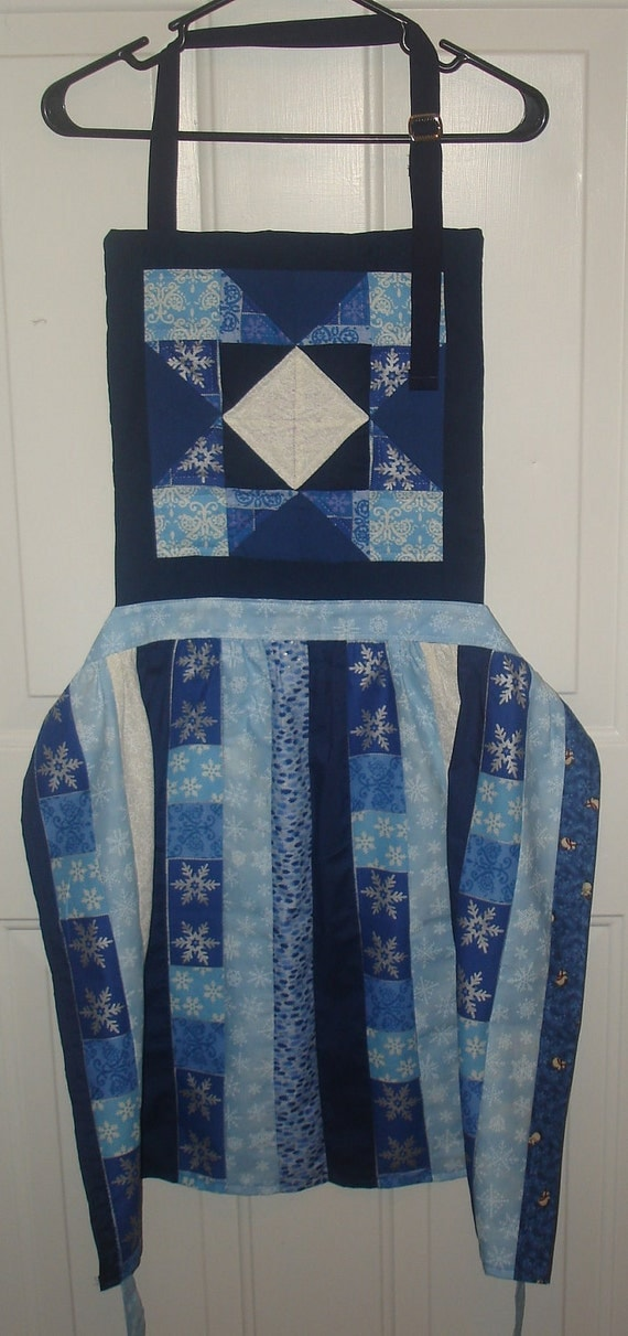 Apron - Holiday - Snowflakes - Quilted Bib, Patchwork Skirt Apron - full or half apron