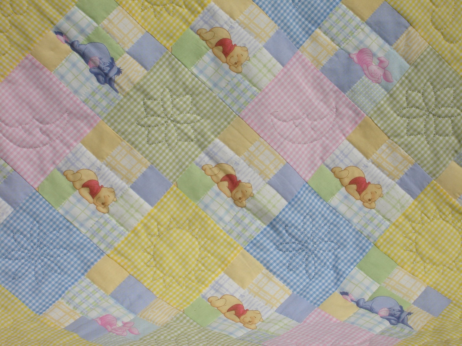 Baby Crib Quilt Hand Quilted Disney Winnie The Pooh