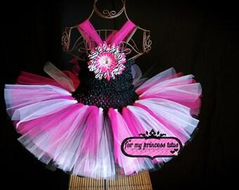 Hot Pink Zebra Tutu Dress - newborn tutu, infant tutu, toddler tutu, dance tutu, dress up tutu, pageant tutu, 1st birthday tutu, tutu