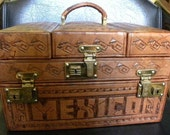 Hand Tool Leather Train Case From Mexico