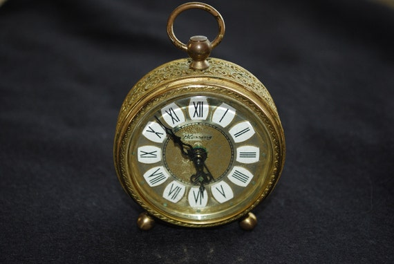 Vintage Gold Blessing Alarm Clock West Germany