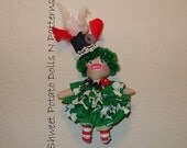 Primitive Irish Art Doll Raggedy Cloth Mixed Media