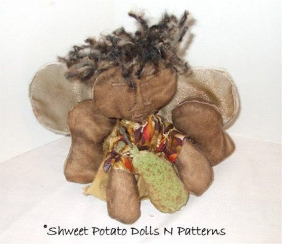 Extreme Primitive Angel Cloth Art Doll  with Pear