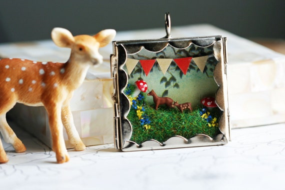 Terrarium necklace, Diorama pendant miniature woodland scene of deer, bunting, and mushroom, chain INCLUDED