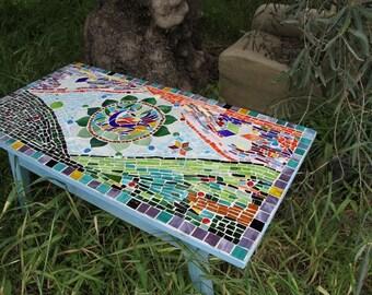 vintage mosaic table  - the blue bird