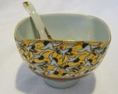 Vintage gold birds chinoiserie sugar bowl with matching spoon