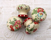 Wooden door knobs made with Cath Kidston bleach blossom paper