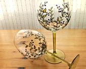 "Painted Wine Glasses, Set of 2, Wedding glasses, Anniversary glasses ""Berries"""