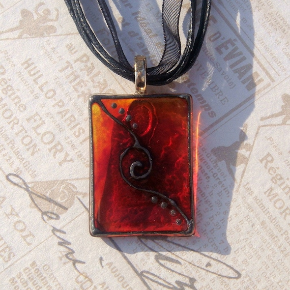 Glass Pendant, Glass Necklace in Red and Orange with Black Organza Ribbon & Cotton Cord, Hand Painted Pendant, Silver Plated Bail