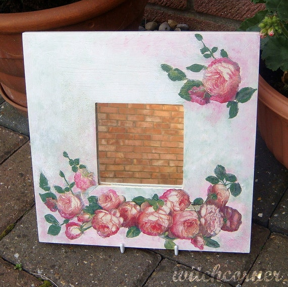 Wall Mirror, Home Decor, Decoration, Shabby Chic Decor, Mirror with English Rose Design, Wall Decor, Romantic Wooden Mirror