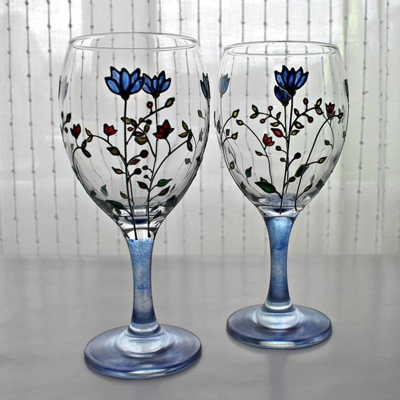 Painted  Wine Glasses, Set of 2, Wedding glasses, Anniversary glasses