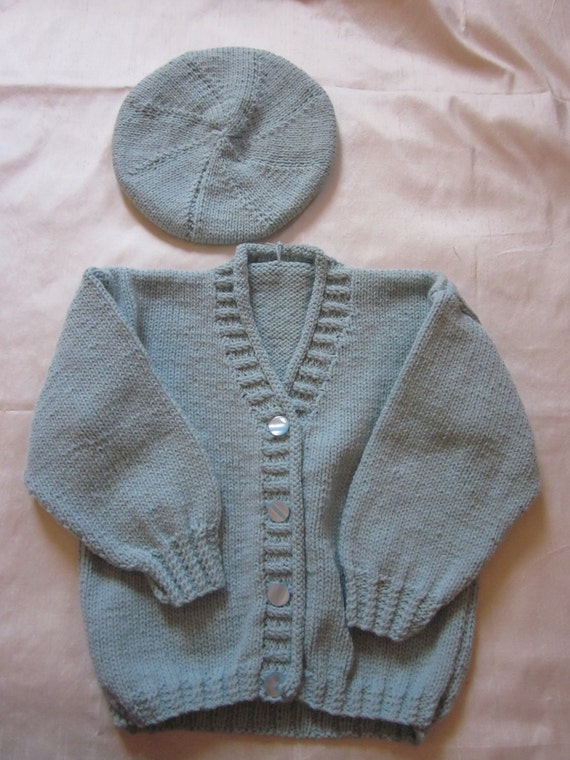 """22"""" Pale Green Cardigan with Matching Hat"""